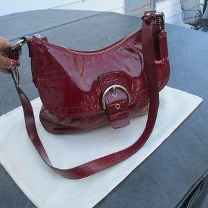 COACH SOHO Buckle Flap Patent Leather Hobo Purse